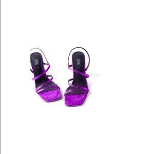 NWT Zara sparkly purple blue collection heels